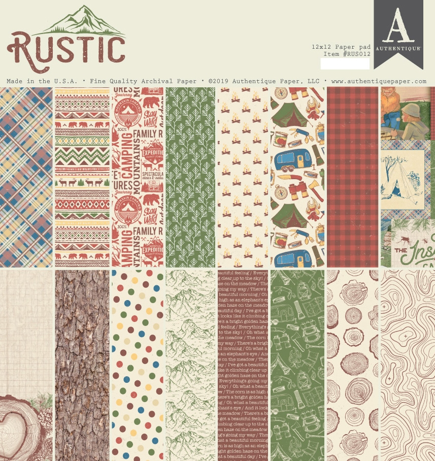 Authentique RUSTIC 12 x 12 Paper Pad rus012 zoom image
