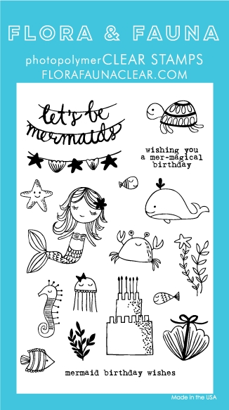 Flora and Fauna MERMAID BIRTHDAY PARTY Clear Stamps 20236 zoom image