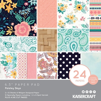 Kaisercraft PAISLEY DAYS 6.5 Inch Paper Pad PP1066