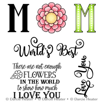 Darcie's WORLD'S BEST MOM Clear Stamp Set pol430