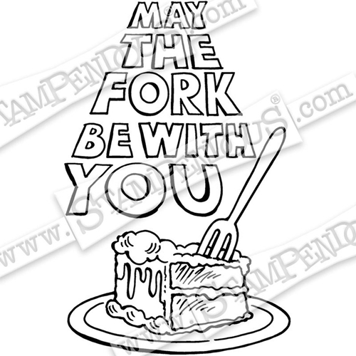 Stampendous Cling Stamp MAY THE FORK crp332 Preview Image