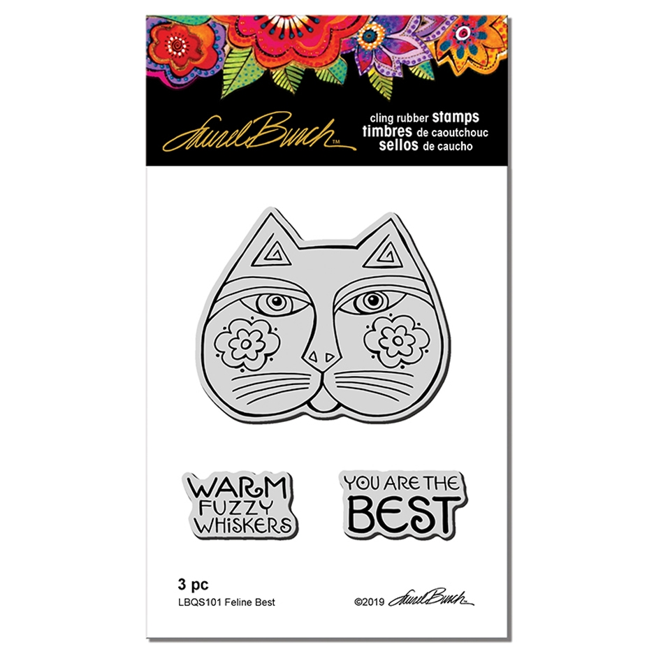 Stampendous Cling Stamp FELINE BEST Laurel Burch lbqs101 zoom image