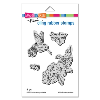 Stampendous Cling Stamp Set HUMMINGBIRD VINE qs5020