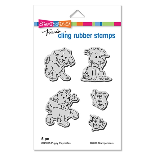 Stampendous Cling Stamp Set PUPPY PLAYMATES qs5025 Preview Image