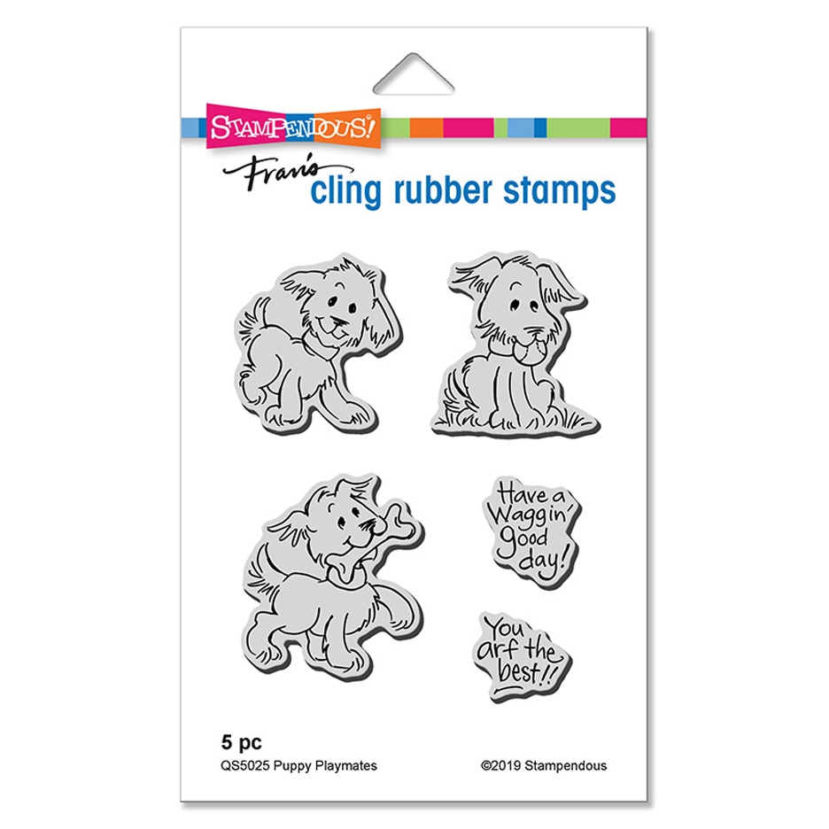 Stampendous Cling Stamp Set PUPPY PLAYMATES qs5025 zoom image