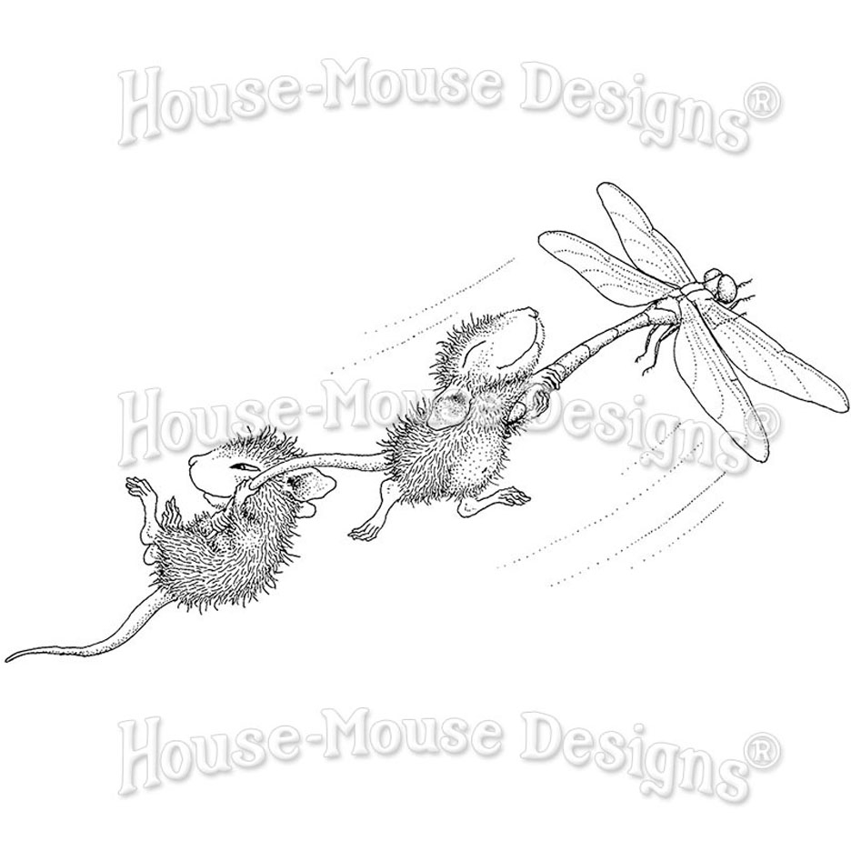 Stampendous House Mouse Dragonfly Ride Cling Stamp