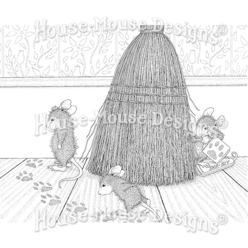 Stampendous Cling Stamp CAT TRACKING hmcr128 House Mouse Preview Image