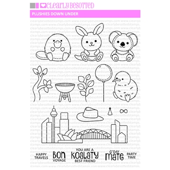 Clearly Besotted PLUSHIES DOWN UNDER Clear Stamps
