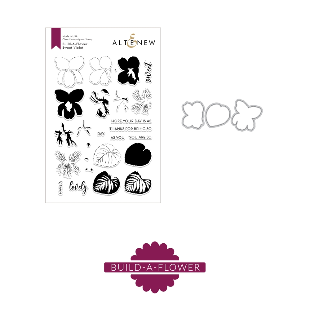 Altenew BUILD A FLOWER SWEET VIOLET Clear Stamp and Die Set ALT3191 zoom image