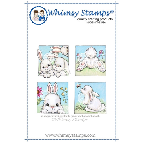 Whimsy Stamps BUNNY SPRING SQUARES Cling Stamp C1314 Preview Image
