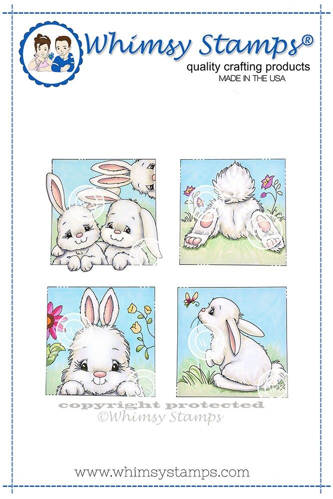Whimsy Stamps BUNNY SPRING SQUARES Cling Stamp C1314 zoom image