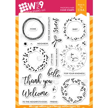 Wplus9 WELCOME WREATH Clear Stamps cl-wp9ww