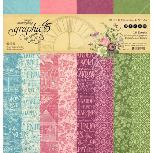 Graphic 45 BLOOM 12 x 12 Patterns And Solids Paper Pad 4501872 Preview Image