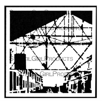 StencilGirl TRAIN STATION 6x6 Stencil s682*