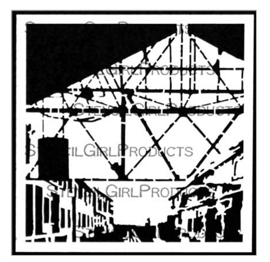 StencilGirl TRAIN STATION 6x6 Stencil s682* zoom image
