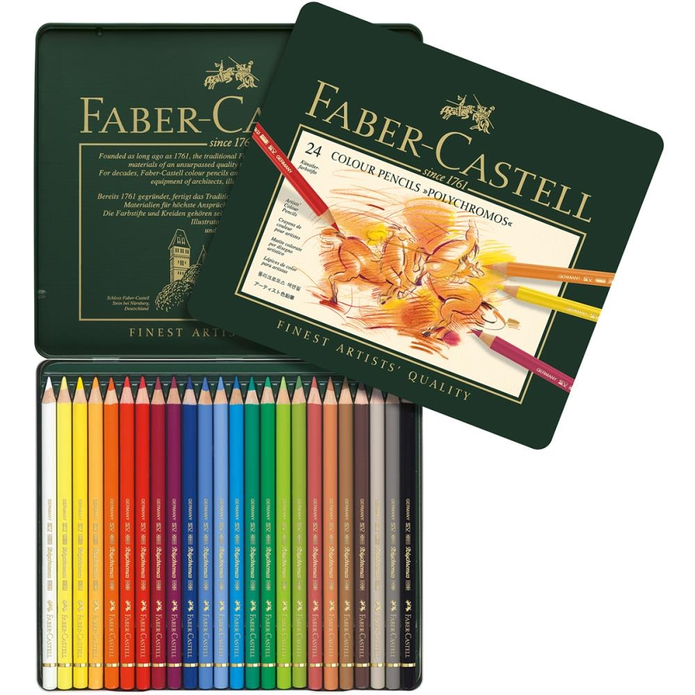 Faber-Castell POLYCHROMOS COLORED PENCILS 24 Piece Set in Tin 110024 zoom image