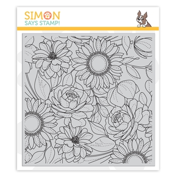 Simon Says Cling Rubber Stamp FLORAL MIX BACKGROUND sss101974 Blossoms and Butterflies