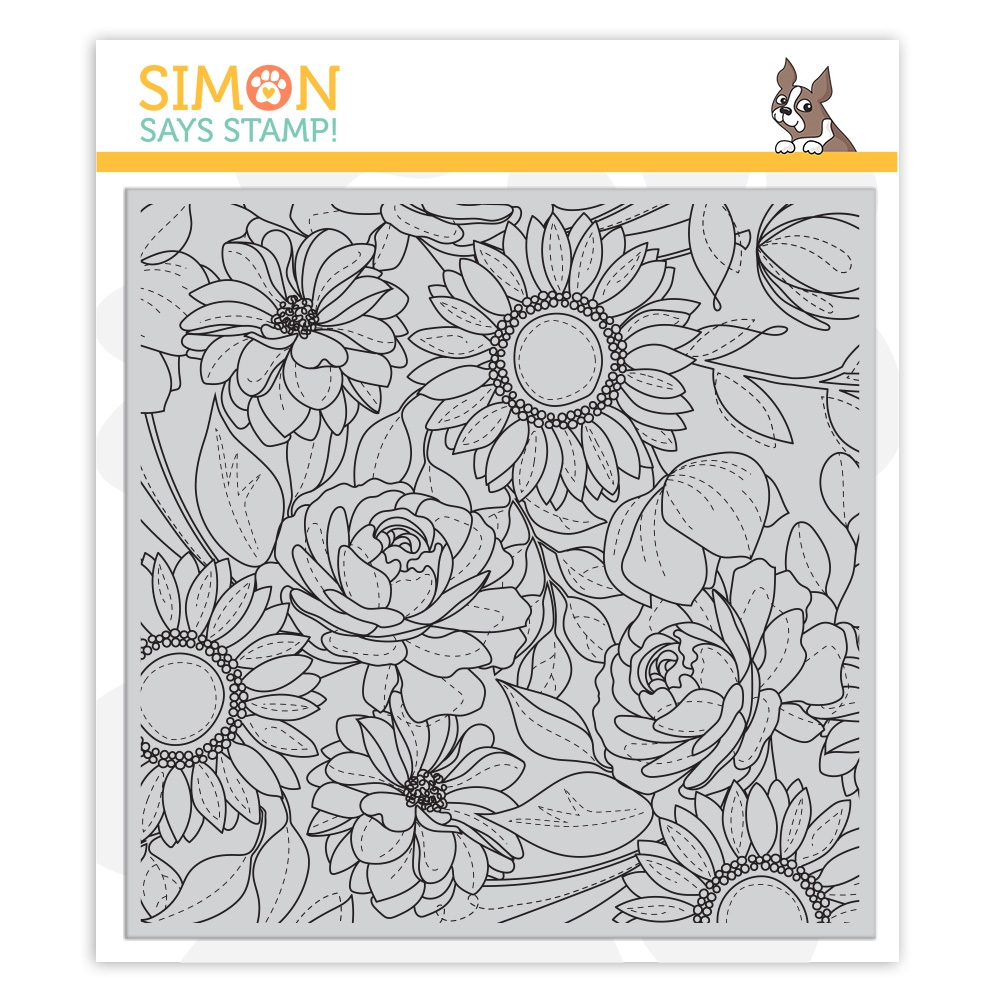 Simon Says Cling Rubber Stamp FLORAL MIX BACKGROUND sss101974 Blossoms and Butterflies zoom image