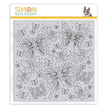 Simon Says Cling Rubber Stamp OUTLINE BUTTERFLIES sss101976 Blossoms and Butterflies