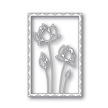 Simon Says Stamp LOTUS FRAME Wafer Die s641 Blossoms and Butterflies