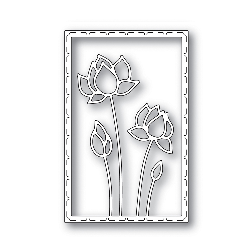 Simon Says Stamp LOTUS FRAME Wafer Die s641 Blossoms and Butterflies zoom image