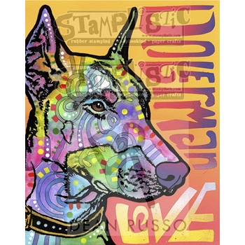 Stamplistic Cling Stamp DOBERMAN LUV Dean Russo l190420