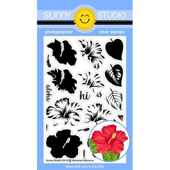 Sunny Studio HAWAIIAN HIBISCUS Clear Stamps SSCL-226