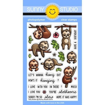 Sunny Studio SILLY SLOTHS Clear Stamps SSCL-218