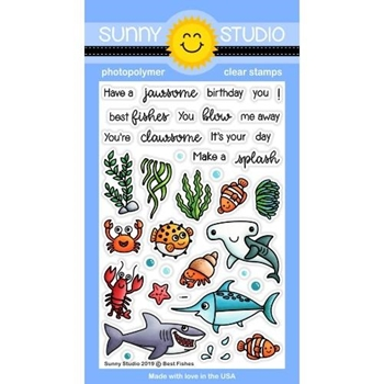 Sunny Studio BEST FISHES Clear Stamps SSCL-216