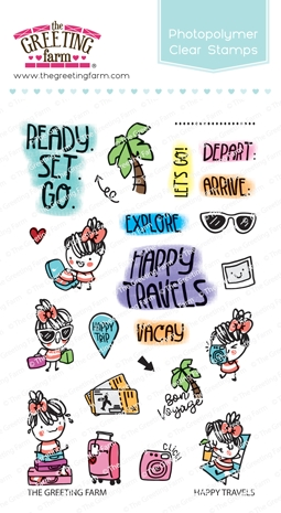 The Greeting Farm HAPPY TRAVELS Clear Stamps TGF474 zoom image