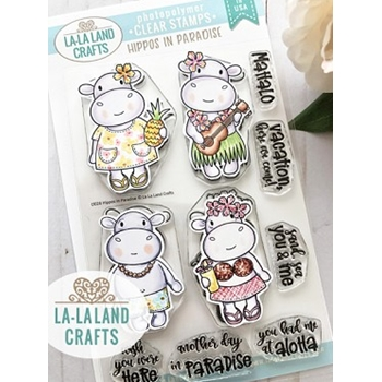 La-La Land Crafts Clear Stamps HIPPO IN PARADISE CL028