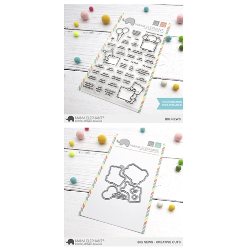 Mama Elephant Clear Stamp and Die mept616 Big News SET Preview Image