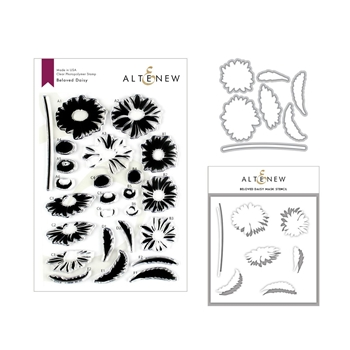 Altenew BELOVED DAISY Clear Stamp, Die and Stencil Bundle ALT3206