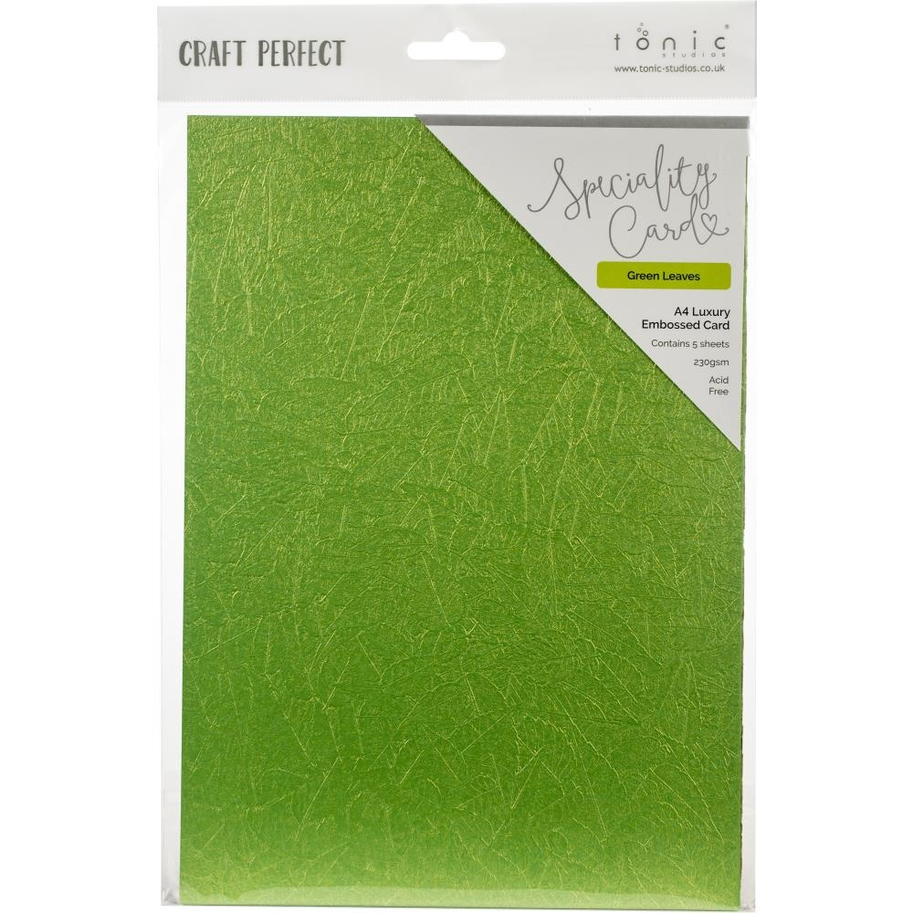 Tonic GREEN LEAVES Luxury Embossed A4 Paper Pack 9844e zoom image