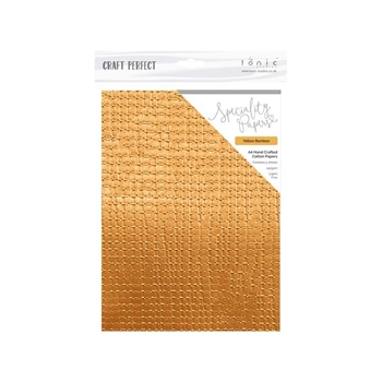 Tonic YELLOW BAMBOO Hand Crafted Embossed Cotton A4 Paper Pack 9882e