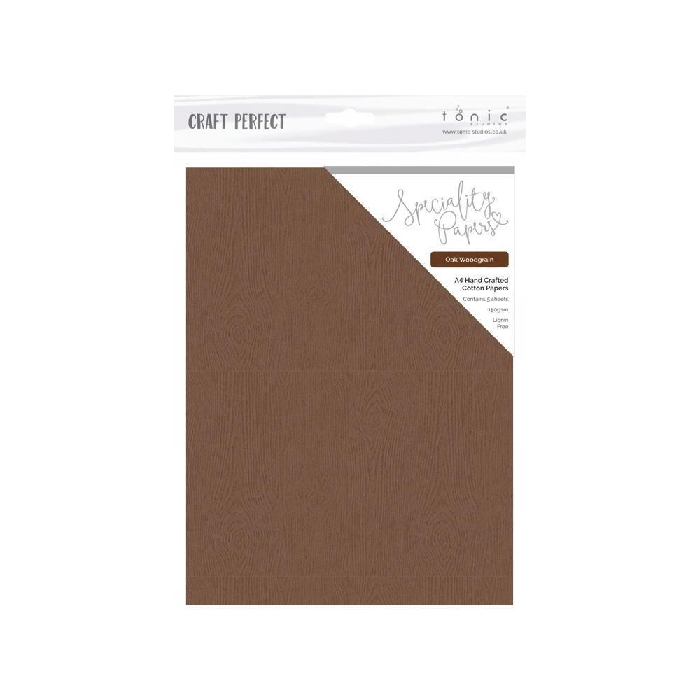 Tonic OAK WOODGRAIN Hand Crafted Embossed Cotton A4 Paper Pack 9883e zoom image