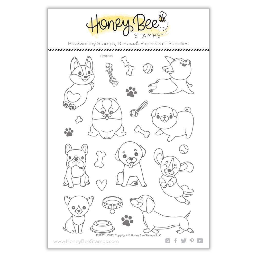 Honey Bee PUPPY LOVE Clear Stamp Set hbst-163 zoom image