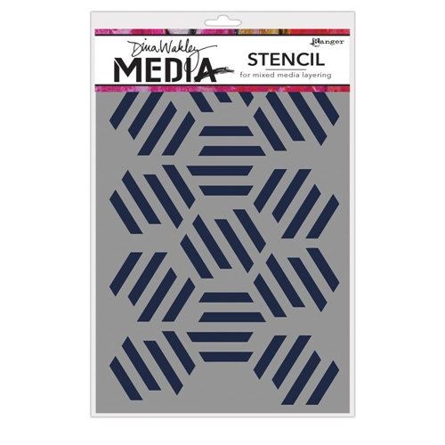 Dina Wakely FRACTURED HEXAGONS Media Stencil MDS65029 Preview Image