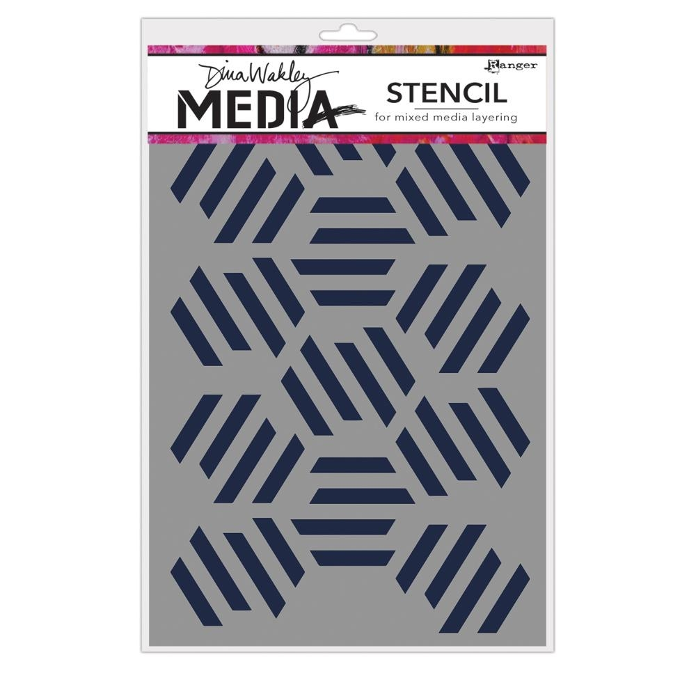 Dina Wakely FRACTURED HEXAGONS Media Stencil MDS65029 zoom image
