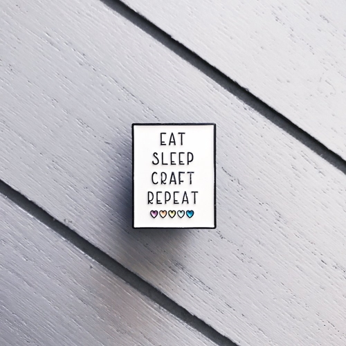 The Gray Muse EAT SLEEP CRAFT REPEAT Enamel Pin tgm-a19-p09 Preview Image