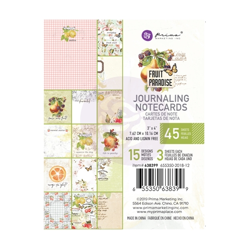 Prima Marketing FRUIT PARADISE 3 X 4 Journaling Cards Pad 638399 Preview Image
