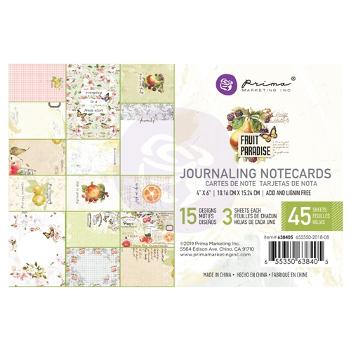 Prima Marketing FRUIT PARADISE 4 X 6 Journaling Cards Pad 638405 Preview Image