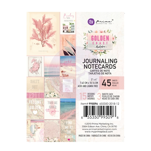 Prima Marketing GOLDEN COAST 3 X 4 Journaling Cards Pad 995096 Preview Image