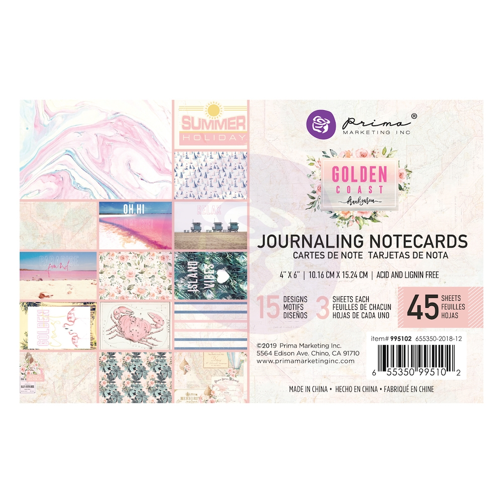 Prima Marketing GOLDEN COAST 4 X 6 Journaling Cards Pad 995102 zoom image