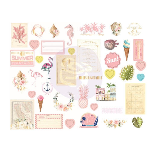 Prima Marketing GOLDEN COAST Chipboard Stickers 995188 Preview Image