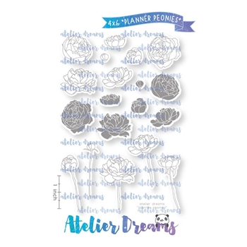 Atelier Dreams PLANNER PEONIES Clear Stamp Set ad091