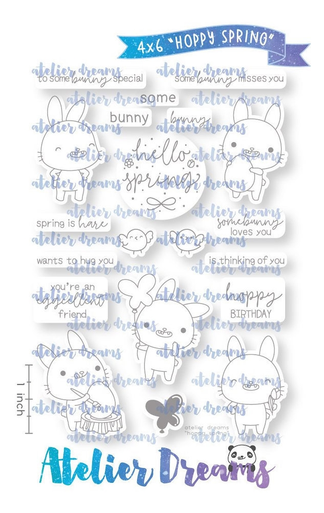 Atelier Dreams HOPPY SPRING Clear Stamp Set ad090 zoom image