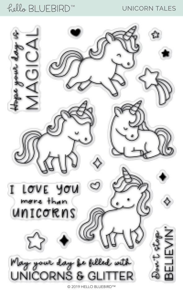 Hello Bluebird UNICORN TALES Clear Stamps hb2177 zoom image