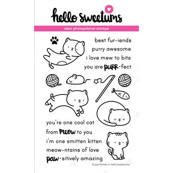 Hello Sweetums FUZZY FELINES Clear Stamp Set 336424