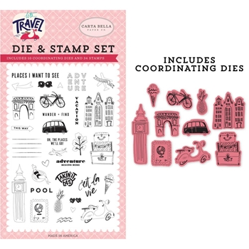 Carta Bella ADVENTURE BEGINS HERE Die And Stamp Set cblt100044